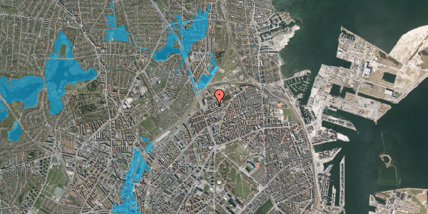 Oversvømmelsesrisiko fra vandløb på Vognmandsmarken 21, 3. tv, 2100 København Ø