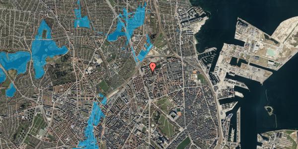 Oversvømmelsesrisiko fra vandløb på Vognmandsmarken 22, st. th, 2100 København Ø