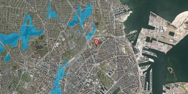 Oversvømmelsesrisiko fra vandløb på Vognmandsmarken 25, 1. th, 2100 København Ø