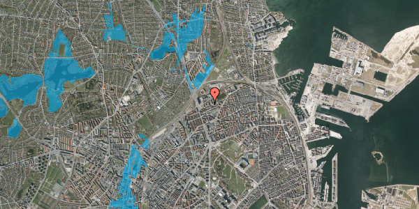 Oversvømmelsesrisiko fra vandløb på Vognmandsmarken 27, 3. th, 2100 København Ø