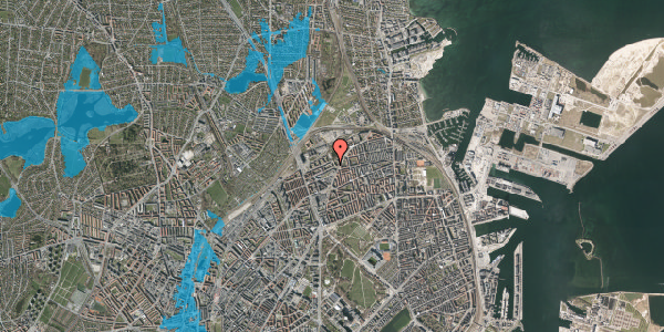 Oversvømmelsesrisiko fra vandløb på Vognmandsmarken 28, 1. th, 2100 København Ø