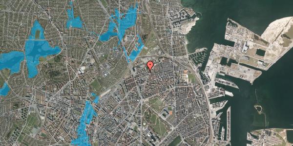 Oversvømmelsesrisiko fra vandløb på Vognmandsmarken 28, 1. tv, 2100 København Ø