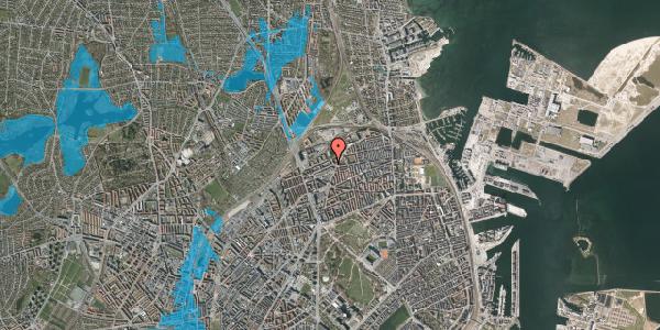 Oversvømmelsesrisiko fra vandløb på Vognmandsmarken 30, 3. th, 2100 København Ø