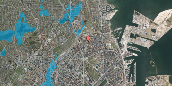 Oversvømmelsesrisiko fra vandløb på Vognmandsmarken 34, st. tv, 2100 København Ø