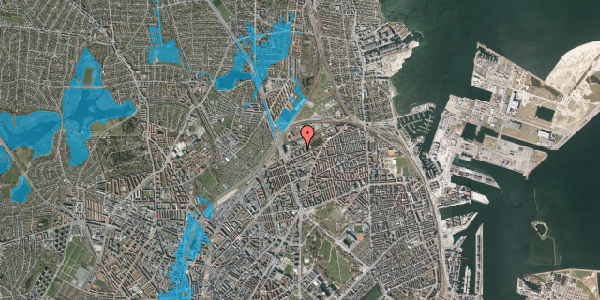Oversvømmelsesrisiko fra vandløb på Vognmandsmarken 35, 2. th, 2100 København Ø
