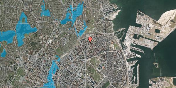 Oversvømmelsesrisiko fra vandløb på Vognmandsmarken 36, 1. th, 2100 København Ø
