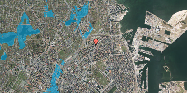 Oversvømmelsesrisiko fra vandløb på Vognmandsmarken 38, 1. th, 2100 København Ø
