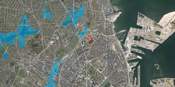 Oversvømmelsesrisiko fra vandløb på Vognmandsmarken 41, 1. tv, 2100 København Ø