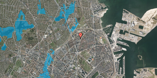 Oversvømmelsesrisiko fra vandløb på Vognmandsmarken 42, st. th, 2100 København Ø