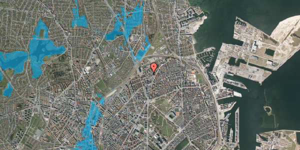 Oversvømmelsesrisiko fra vandløb på Vognmandsmarken 44, 4. tv, 2100 København Ø