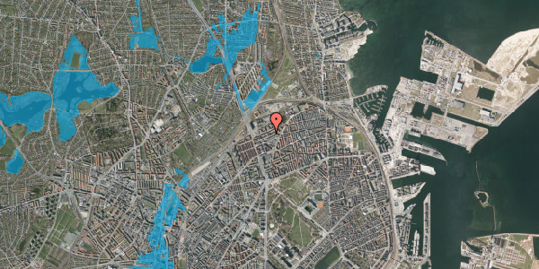 Oversvømmelsesrisiko fra vandløb på Vognmandsmarken 48, st. th, 2100 København Ø