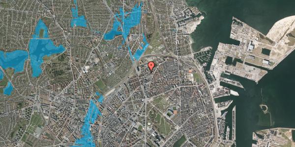 Oversvømmelsesrisiko fra vandløb på Vognmandsmarken 50, 1. tv, 2100 København Ø