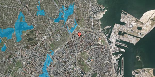 Oversvømmelsesrisiko fra vandløb på Vognmandsmarken 53, 1. tv, 2100 København Ø