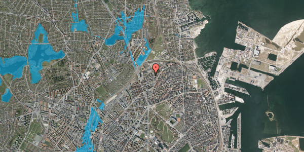 Oversvømmelsesrisiko fra vandløb på Vognmandsmarken 55, st. th, 2100 København Ø