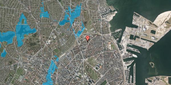 Oversvømmelsesrisiko fra vandløb på Vognmandsmarken 55, 1. th, 2100 København Ø