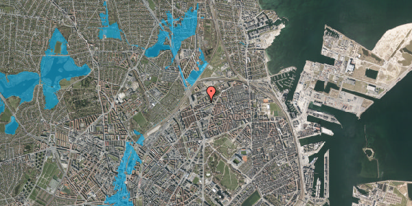 Oversvømmelsesrisiko fra vandløb på Vognmandsmarken 56, 4. th, 2100 København Ø