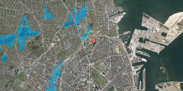 Oversvømmelsesrisiko fra vandløb på Vognmandsmarken 57, st. th, 2100 København Ø
