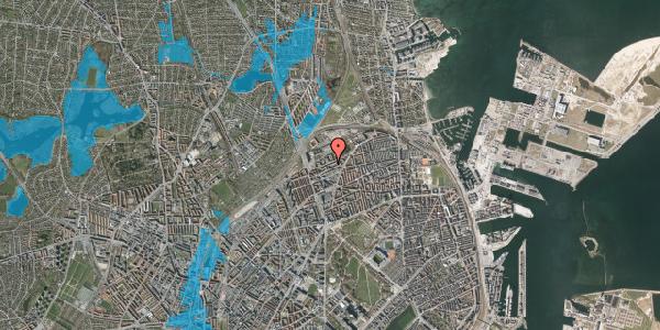 Oversvømmelsesrisiko fra vandløb på Vognmandsmarken 58, 2. tv, 2100 København Ø