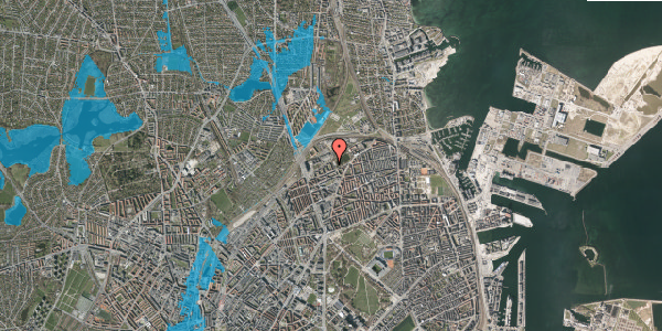 Oversvømmelsesrisiko fra vandløb på Vognmandsmarken 61, 2. tv, 2100 København Ø