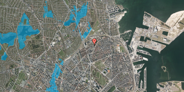Oversvømmelsesrisiko fra vandløb på Vognmandsmarken 62, st. th, 2100 København Ø