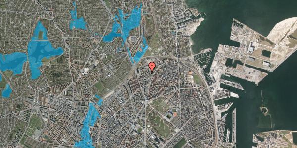Oversvømmelsesrisiko fra vandløb på Vognmandsmarken 64, 1. tv, 2100 København Ø