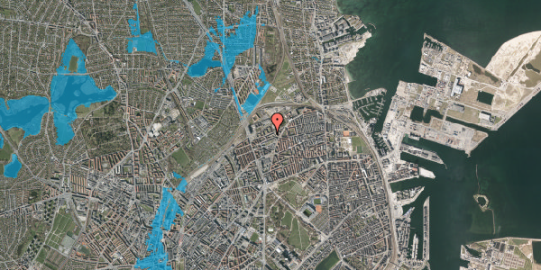 Oversvømmelsesrisiko fra vandløb på Vognmandsmarken 64, 2. tv, 2100 København Ø