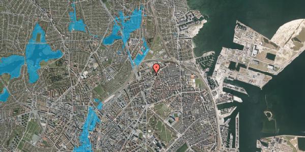 Oversvømmelsesrisiko fra vandløb på Vognmandsmarken 72, 1. tv, 2100 København Ø