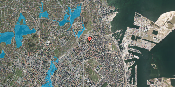 Oversvømmelsesrisiko fra vandløb på Vognmandsmarken 74, 2. tv, 2100 København Ø