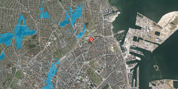Oversvømmelsesrisiko fra vandløb på Vognmandsmarken 76, 2. tv, 2100 København Ø