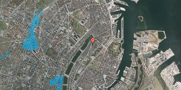 Oversvømmelsesrisiko fra vandløb på Voldmestergade 9, 2100 København Ø