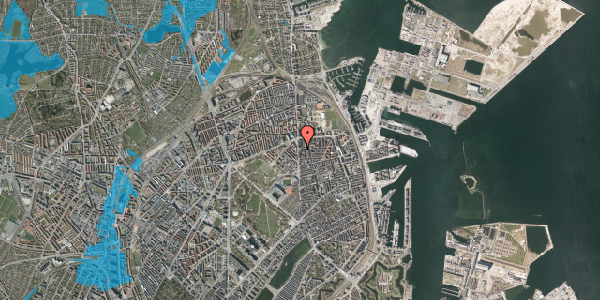 Oversvømmelsesrisiko fra vandløb på Vordingborggade 2B, 2. , 2100 København Ø