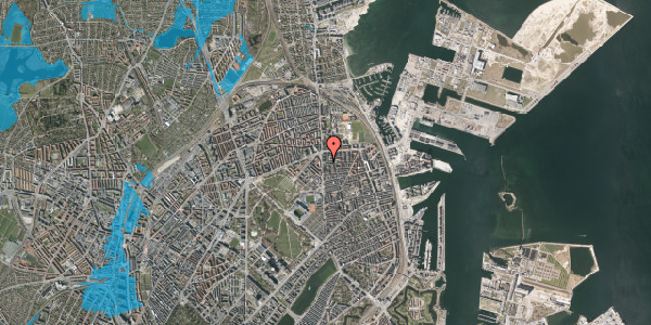 Oversvømmelsesrisiko fra vandløb på Vordingborggade 3, 2. tv, 2100 København Ø