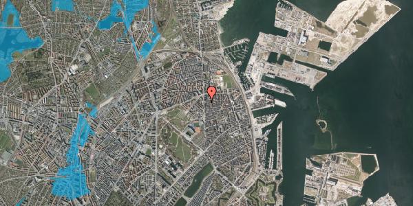 Oversvømmelsesrisiko fra vandløb på Vordingborggade 4A, st. , 2100 København Ø