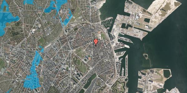 Oversvømmelsesrisiko fra vandløb på Vordingborggade 4B, 1. th, 2100 København Ø