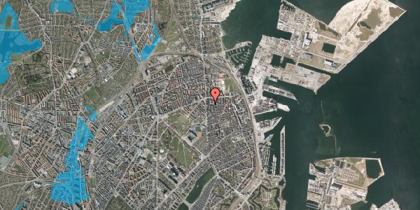 Oversvømmelsesrisiko fra vandløb på Vordingborggade 5, 1. th, 2100 København Ø