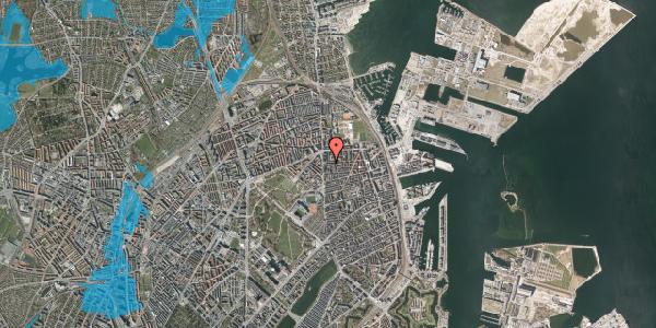 Oversvømmelsesrisiko fra vandløb på Vordingborggade 6A, 2. 21, 2100 København Ø