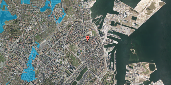 Oversvømmelsesrisiko fra vandløb på Vordingborggade 6B, 1. 12, 2100 København Ø