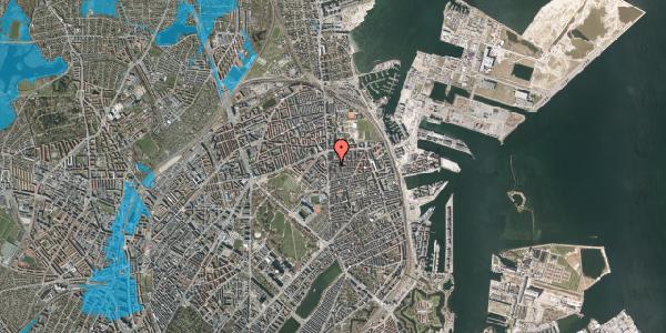 Oversvømmelsesrisiko fra vandløb på Vordingborggade 6B, 1. 15, 2100 København Ø