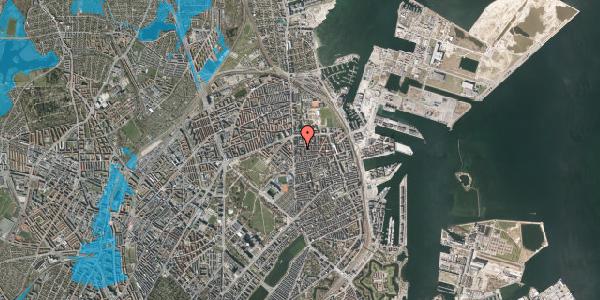 Oversvømmelsesrisiko fra vandløb på Vordingborggade 6C, 2. 21, 2100 København Ø