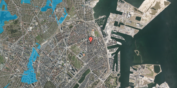 Oversvømmelsesrisiko fra vandløb på Vordingborggade 6D, 1. 12, 2100 København Ø