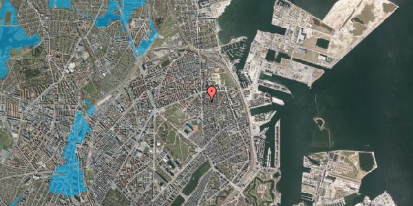 Oversvømmelsesrisiko fra vandløb på Vordingborggade 6D, 2. 21, 2100 København Ø