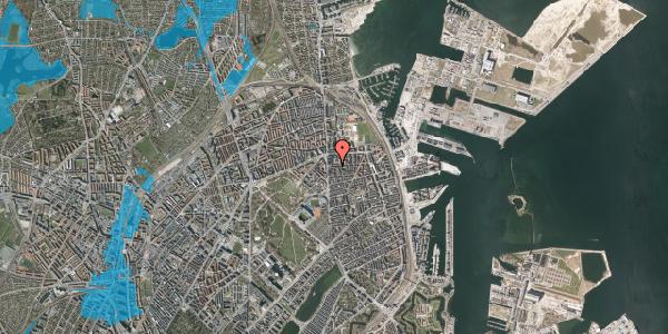 Oversvømmelsesrisiko fra vandløb på Vordingborggade 6E, 4. 42, 2100 København Ø