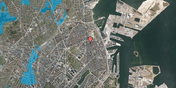 Oversvømmelsesrisiko fra vandløb på Vordingborggade 6F, 1. 11, 2100 København Ø