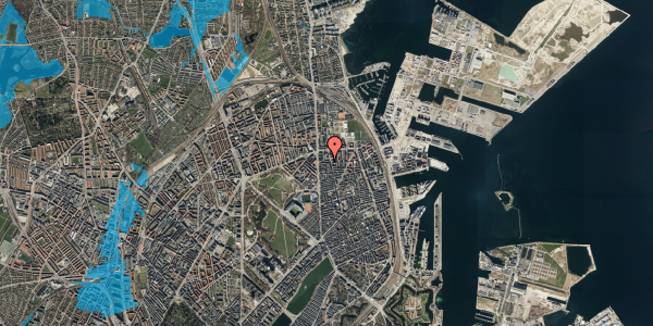 Oversvømmelsesrisiko fra vandløb på Vordingborggade 6F, 2. 21, 2100 København Ø