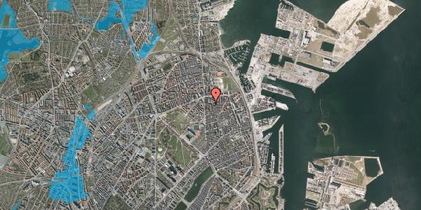 Oversvømmelsesrisiko fra vandløb på Vordingborggade 6G, 4. 42, 2100 København Ø