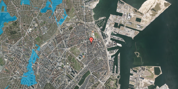 Oversvømmelsesrisiko fra vandløb på Vordingborggade 6G, 5. 52, 2100 København Ø