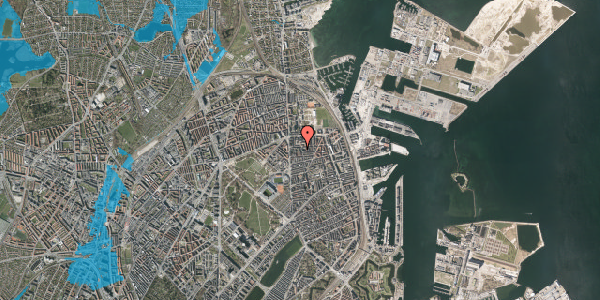 Oversvømmelsesrisiko fra vandløb på Vordingborggade 6J, 5. 53, 2100 København Ø