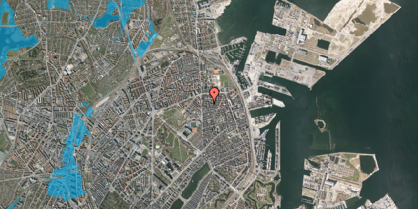Oversvømmelsesrisiko fra vandløb på Vordingborggade 6K, st. 1, 2100 København Ø
