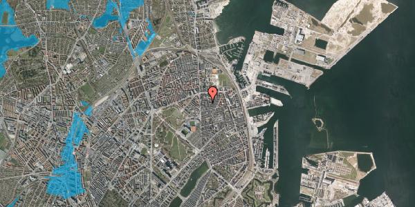Oversvømmelsesrisiko fra vandløb på Vordingborggade 6K, 2. 21, 2100 København Ø