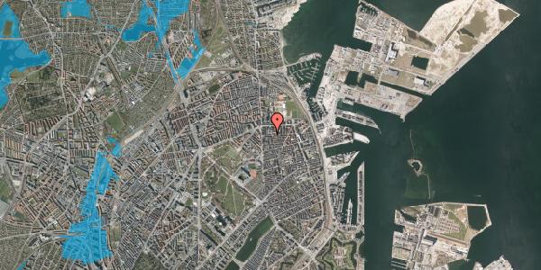 Oversvømmelsesrisiko fra vandløb på Vordingborggade 13, st. tv, 2100 København Ø